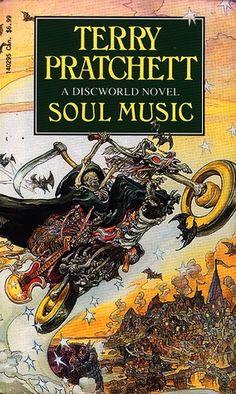 Soul Music (Discworld, book by Terry Pratchett - book cover, description, publication history. Fantasy Book Covers, Fantasy Books, Discworld Books, Terry Pratchett Discworld, Beach Reading, Weird Stories, Soul Music, Book Cover Design, Audio Books
