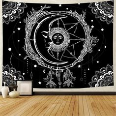 Tapestry Bedroom, Tapestry Wall Hanging, Tree Tapestry, Mandala Tapestry, Sun And Moon Tapestry, Psychedelic Tapestry, Indian Tapestry, Aesthetic Bedroom, My New Room