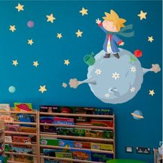 Baby little prince wall decal. Nursery Wall decal for baby boy Vinilo infantil principito. Nursery Wall Decals, Nursery Room, Boy Room, Wall Sticker, Kids Bedroom, Wall Murals, Preschool Classroom Decor, Classroom Wall Decor, Classroom Themes