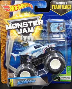 Hot Wheels Monster Jam Truck 1:64 Scale Team Flag Creatures Megalodon 8/10