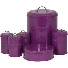 Purple Coffee Tea Sugar Jar Canister Biscuit Barrel Bread Bin Cake Tin Set Kitchen
