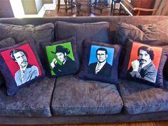 Anchorman Channel 4 News Team needlepoint pillows. my work