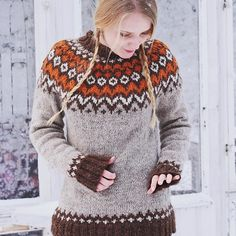 Body and sleeves are worked in the round from lower edge to underarms, then joined to work yoke in the round. Round begins at left side of body. On yoke, round begins Vogue Knitting, Lace Knitting, Punto Fair Isle, Pullover Mode, Icelandic Sweaters, Knitting Magazine, Fair Isle Knitting, Knit Picks, Knitting Designs