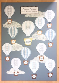 Hot air balloon wedding table plan quirky fun blue and grey seating plan handcrafted Wedding Table, Wedding Ideas, Balloon Wedding, Table Plans, Hot Air Balloon, Balloons, Around The Worlds, How To Plan, Grey