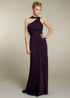 Concise long A-line sleeveless pleated empire belt grape chiffon Bridesmaid