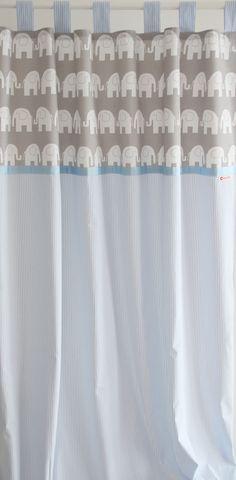 Gardinen U0026 Vorhänge   Vorhang Elefanten/Streifen Blau/grau 140 X 250 Cm