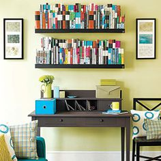 De-Clutter Your Home Now! | Work the room | AllYou.com - On this desk (right) cubbyholes are used to sort bills; other papers are kept in decorative storage boxes. Above, floating shelves turn rows of books into an attractive display.