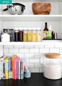 Dividers are a key ingredient to a well organized kitchen. Here's how to create user-friendly, minimal cabinets and drawers. Organized Kitchen, Kitchen Organization, Organizing, Minimalist Kitchen, Everyday Items, Key Ingredient, Dividers, Glass Bottles, Floating Shelves
