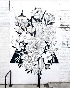 "If someone were to ask me which mural is my favorite, my answer would most likely be this one. This was a project I did for ""me"" I saw a… Mural Wall Art, Diy Wall Art, Window Mural, Graffiti, Flower Mural, Bedroom Murals, Wall Drawing, Floral Wall, Paint Designs"