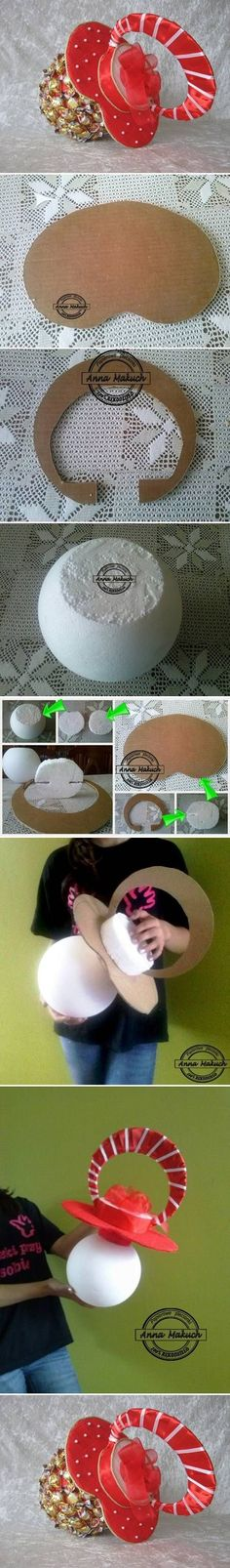 How to make Candy Pacifier for baby shower invitations step by step DIY tutorial instructions / How To Instructions