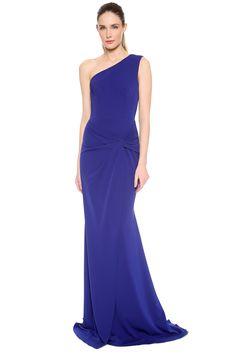 Royal Blue Floor-Length One Shoulder A-Line Chiffon Sleeveless Prom Dress