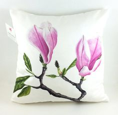 Pink Magnolia Lux Throw Pillow  100% Down by LauraAshtonArtist