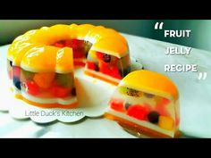 beautiful &delicious fruit jelly cake little ducks kitchen Jelly Desserts, Pudding Desserts, Asian Desserts, No Cook Desserts, Pudding Recipes, Jello Recipes, Milk Recipes, Fruit Jelly Recipe, Vodka Jelly