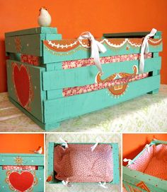 some sort small crate-made into doll bed Backyard Furniture, Cat Furniture, Recycled Decor, Doll Accessories, Creative Inspiration, Toy Chest, Decoupage, Recycling, Decorative Boxes