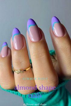 Acrylic Nails Almond Shape, Almond Nails Designs Summer, Summer Nails Almond, Classy Almond Nails, Purple Acrylic Nails, Purple Nail Designs, Summer Acrylic Nails, Best Acrylic Nails, Purple Nails