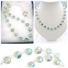 Green Mystic Coated Quartz Gemstone Necklace, Quartz Necklace, Green Shimmer Necklace, Green Quartz Necklace, Clear Quartz Jewellery by PreciousHCJewellery on Etsy