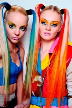 neon rainbow coloured hair...omg the reminds me of the 90s love!!!!