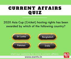 Current Affairs Quiz, Asia Cup