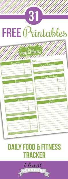 Free printable daily food and fitness tracker