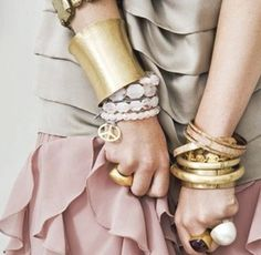 pink grey gold - layers of braceletes