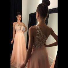 Elegant One Shoulder Long Prom Dresses With Lace Appliques And Beading See Though Party Dress
