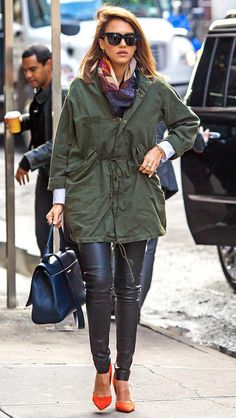 Fall outfits to borrow from celebrities: Jessica Alba in leather leggings, a parka, scarf and orange heels