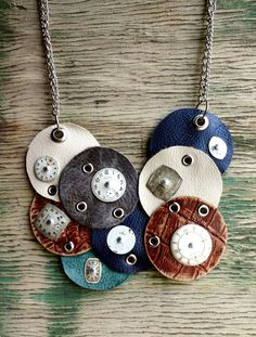 Steampunk Upcycle Leather Circles and Antique by FragmentedTime, $75.00
