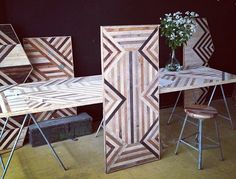Brooklyn designer rescues landfilled wood for stylish geometric furniture : TreeHugger Upcycled Furniture, Wood Furniture, Outdoor Furniture Sets, Furniture Design, Furniture Ideas, Salvaged Wood, Recycled Wood, Geometric Furniture, Wood Design
