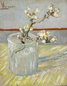 Van Gogh Museum - Sprig of Flowering Almond Blossom in a Glass, A exquisite tiny still life. One of my favorites at the Van Gogh Museum in Amsterdam. Vincent Van Gogh, Van Gogh Museum, Art Van, Van Gogh Arte, Van Gogh Pinturas, Tableaux Vivants, Almond Blossom, Cherry Blossom, Van Gogh Paintings