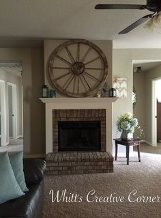 Wagon wheel decor. I love this look above our fireplace! Nice country chic feel. http://www.facebook.com/whittscreativecorner