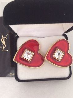 Yves Saint Laurent Heart Earrings YSL Red Heart Gripoix Glass Faceted Geometric Rhinestone Adorned by Gripox Glass Trimmed Gold Tone / Plate