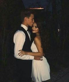Elegant romance cute couple relationship goals hug cuddle kisses teen couple prom love under the sky