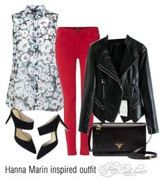 """""""Hanna Marin inspired outfit/PLL"""" by tvdsarahmichele ❤ liked on Polyvore featuring Miss Selfridge, J Brand, Boden and Prada"""