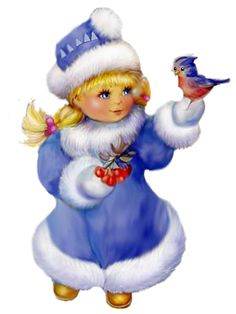 WINTER LITTLE GIRL AND BIRD CLIP ART