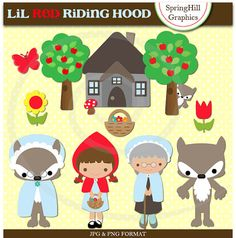 Instant Download Lil Red Riding Hood Digital Clip Art - Personal and Commerical Use