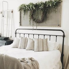 Stripped pillows and bed frame