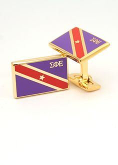 Sigma Phi Epsilon Gold Plated Flag Cufflinks - Those would be a good present for my brother :)