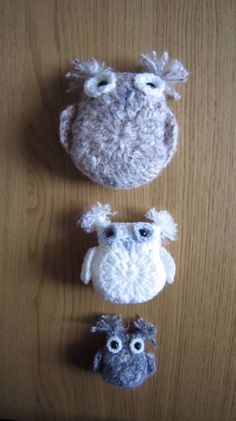 Trio of crochet owls