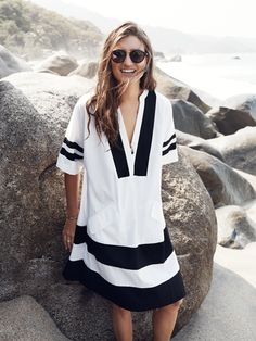 Madewell Poncho dress worn with Indio shades.