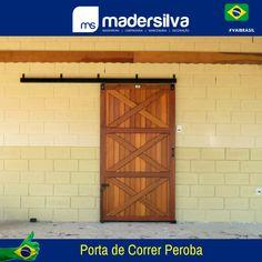 Porta de Baia Correr, Madeira Maciça completa com Trilho e Guias.