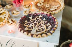 Pies for wedding Fall Bohemian Wedding Inspiration Pie Decoration, Thanksgiving Pies, Bohemian Wedding Inspiration, Cupcakes, Mets, Let Them Eat Cake, Dessert Table, Sweet Tooth, Sweet Treats