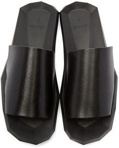 Julius Black Leather Slide Sandals