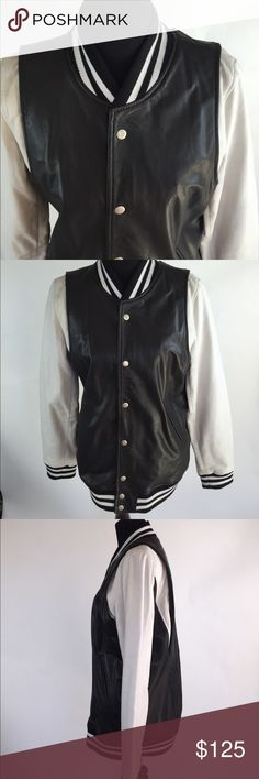 NASTY GAL LEATHER VARSITY JACKET IN LARGE Leather Varsity Jacket in Size Large by Nasty Gal! Wears like an XL! Brand New! No tags ! Never worn! Closet kept! Nasty Gal Jackets & Coats Utility Jackets