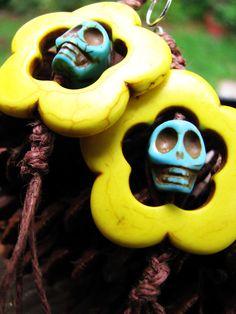 skull and flower earrings