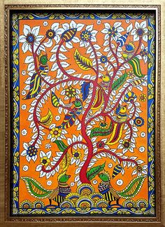 21 Super Ideas For Zentangle Art Dibujos Arbol Madhubani Paintings Peacock, Kalamkari Painting, Madhubani Art, Indian Art Paintings, Indian Traditional Paintings, Gond Painting, Kerala Mural Painting, Rajasthani Art, Folk Art Flowers