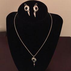 Napier Black & Silver Necklace & Earrings Set Black & silver necklace & pierced earrings set. Napier Jewelry Necklaces
