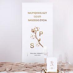 KAKEMONO personalizowane + listwa 60x150cm Kwiaty Bawełny Place Cards, Place Card Holders, Products, Alcohol, Gadget