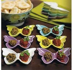 Cute Butterfly Food Serving Dishes for Wedding or Party in Yellow, Aqua Blue, Purple, or White