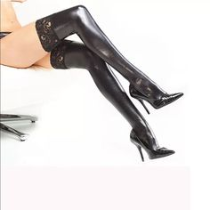 Faux Liquid Leather Thigh Highs with Lace Top Faux Liquid Leather Thigh Highs with Lace Top. Sexy pair of thigh highs that will definitely draw attention. Has the liquid leather look, stretch and have lace detail on the top. Can wear with garters too for an even sexier look. Perfect for dressing up outfits! Miss V Accessories Hosiery & Socks