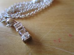 """New Listing Started sterling silver pendant two clear stones 1/2""""high+non matching chain not silver £1.49"""